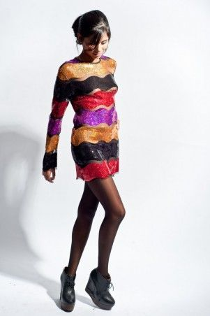 Jones & Jones Multicoloured Sequins Wanda Dress