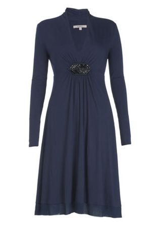 Kew Bead Front Silk Trim Dress