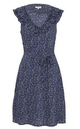 Kew Ditsy Pansy Silk Frill Dress