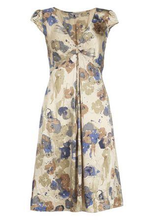 Kew Watercolour Floral Satin Dress