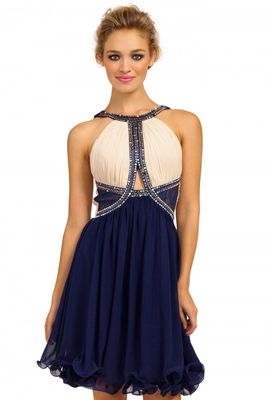 Little Mistress Cream & Navy Embellished Cutout Detail Prom Dress
