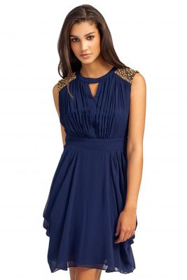 Little Mistress Navy Embellished Keyhole Detail Chiffon Dress