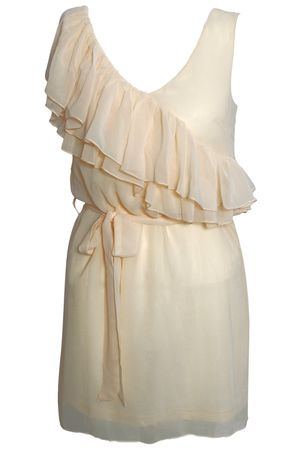 Rare Chiffon Asymmetric Ruffle Dress