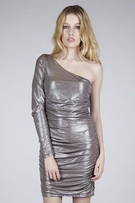 Warehouse Metallic Ruched One Shoulder